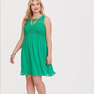 NWT Dress -green chiffon tank top style